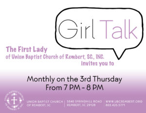Girl Talk @ Union Baptist Church of Rembert, SC., INC | Rembert | South Carolina | United States
